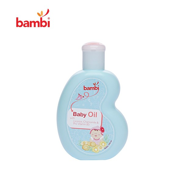 Bambi Baby Oil Adalah Minyak Yang Dapat Menjaga Kelembutan Kulit Tubuhnya. Minyak Ini Dibuat Dengan Kandungan Chamomile & Anti Irritant Complex Yang Akan Memberikan Manfaat Terbaik Untuk Bayi.