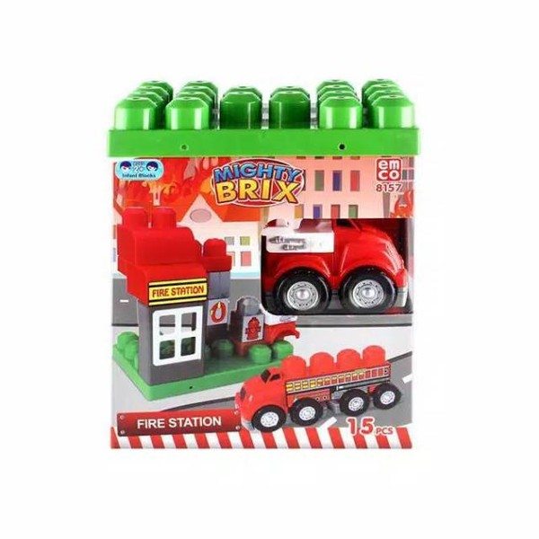 Emco Mighty Brix Mini Fire Station - Berisi 15 Brix Yang Jika Disusun Dapat Berubah Menjadi Miniatur Mobil Pemadam Kebakaran Yang Kamu Inginkan.    Uniknya Dari Emco Mighty Brix Mini Fire Station Ini Adalah Memiliki Warna Dan Desain Yang Menarik Dan Dapat Dirubah Bentuk Sesuai Dengan Yang Kamu Impikan.
