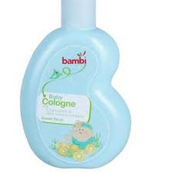 Bambi Baby Cologne Mengandung Anti Irritant Complex (Pro Vit B5, Liqoricde, Chamomile) Untuk Melindungi Kulit Bayi Dan Mencegah Iritasi Pada Kulit. Keharuman Sweet Floral Dan Perpaduan Aroma Bunga Dan Tumbuh-Tumbuhan Yang Lembut (Rose, Woody, Musky, Orang