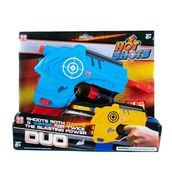 Mainan Pistol Emco Hot Shot Yang Di Mainkan Secara Manual Dengan Cara Dikokang Tanpa Menggunakan Baterai    Dapat Mengeluarkan Air Saat Menembak   Terdapat Peluru Isi 5 Pcs Yang Terbuat Dari Busa Lunak