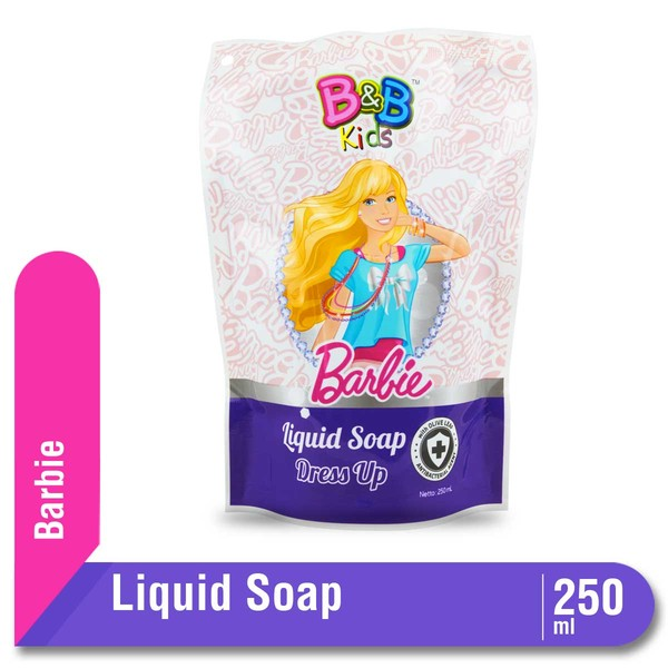 B&B Kids Barbie Liquid Soap Is Formulated With Olive Leaf Extract To Clean & Protect Your Skin From Bacteria And Milk Protein To Keep Your Skin Moist And Healthy. The Fresh Fragrance Makes You Feel Cheerful All Day. Apply Onto Wet Body. Lather And Rinse T