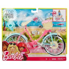 """Sepeda Barbie"""" Ini Siap Untuk Memasuki Imajinasi! Sebuah Tubuh Merah Muda, Fender Teal, Dan Aksen Perak Sangat Cantik. Pedal Dan Roda Kerja Yang Nyata Membuat Sepeda Menunggang Sepoi-Sepoi.    Tempatkan Boneka Barbie"""" (Dijual Terpisah) Di Kursi Sepeda Tempat Klip Menahannya Di Tempatnya."""