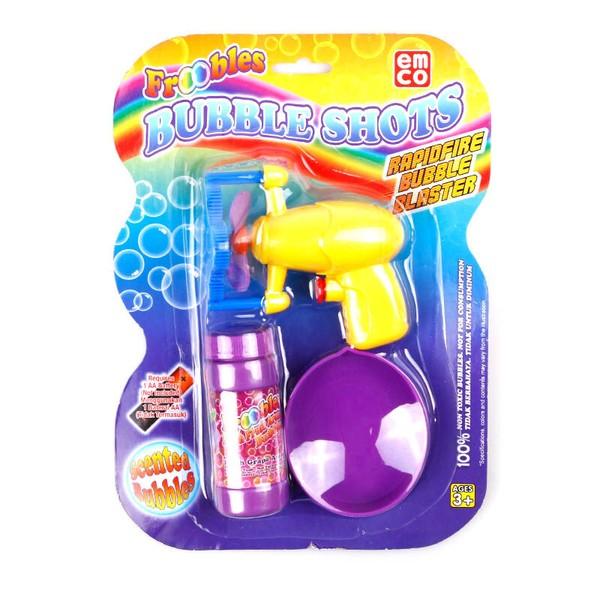 Mainan Bubble Persembahan Terbaik Dari Emco, Kamu Bisa Membuat Bubble / Gelembung Sabun (Paket Termasuk 1 Buah Refill Froobles 55Ml) Sebanyak Mungkin Sesuai Dengan Yang Kamu Inginkan.    Froobles Bubbles Shot Ini Menggunakan Battrei Dengan Ukuran 2 X Aa Battrei (Tidak Termasuk).Froobles Bubbles Shot Direkomendasikan Untuk Menggunakan Battrei Baru Sesuai Dengan Ukuran Yang Tertera Pada Kemasan, Ganti Battrei Dengan Merk Dan Tipe Sekaligus Untuk Lebih Maksimal Dalam Bermain.