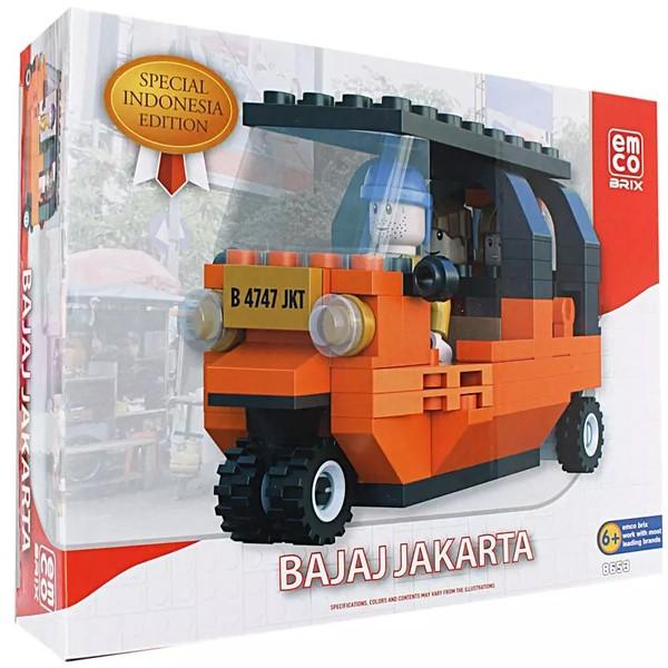 Lengkapi Koleksi Mainan Kamu Dengan Produk- Produk Terbaru Dan Terbaik Dari Emco Toys Edisi Spesial Indonesia.    Bajaj Jakarta Mini Yang Satu Ini Sangat Unik, Dilengkapi Dengan Karakter Pengemudi Dan Penumpang Juga.    Mainan Ini Aman Untuk Dimainkan Anak-Anak Umur 6+