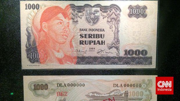 Jenderal Soedirman dalam pecahan uang kertas Rp1000 dengan tahun pencetakan 1968