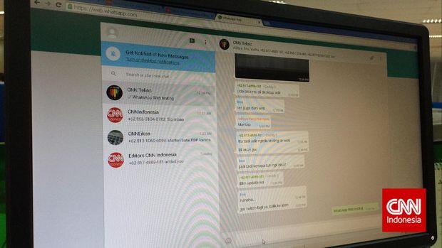WhatsApp memperluas penggunaan layanan mereka di browser sehingga dapat diakses melalui komputer pribadi. (CNN Indonesia/Aditya Panji)