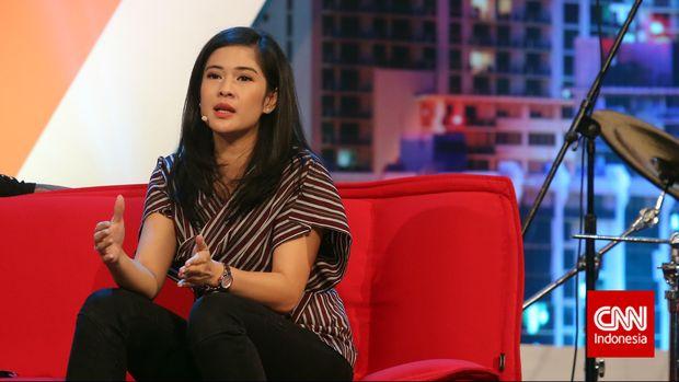 Aktris Dian Sastrowardoyo tampil sebagai pembicara dalam acara Creativepreneur Corner 2015, Jakarta, Sabtu, 28 Maret 2015. CNN Indonesia/Adhi Wicaksono.
