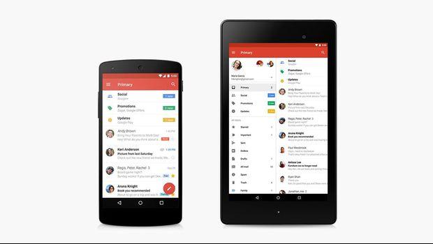 Ilustrasi Gmail di smartphone dan tablet