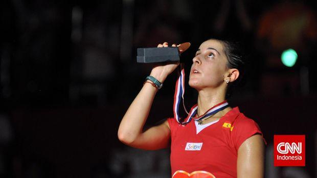 Juara Dunia Bulutangkis Tunggal Putri 2015 asal Spanyol Carolina Marin. (CNN Indonesia/Putra Permata Tegar Idaman)