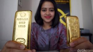 Harga Emas Antam Turun Jadi Rp 590.000/Gram