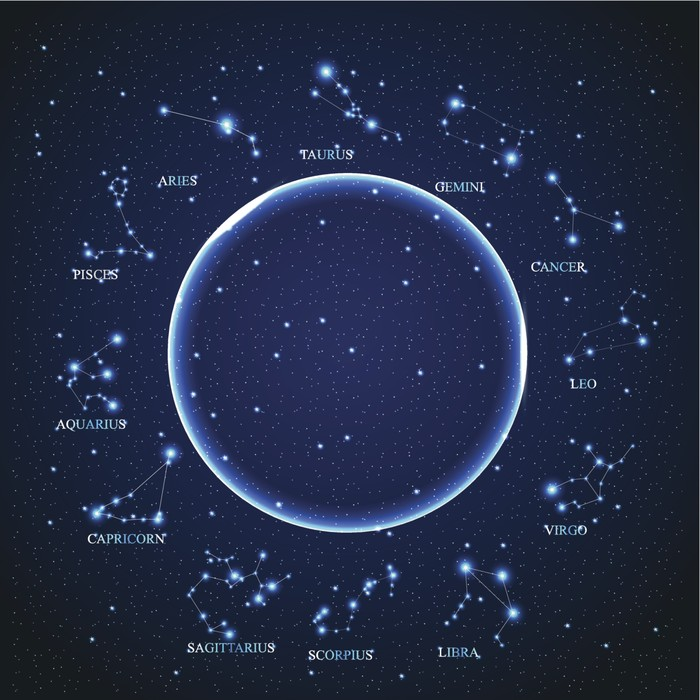 the aries zodiac sign of bright stars on background