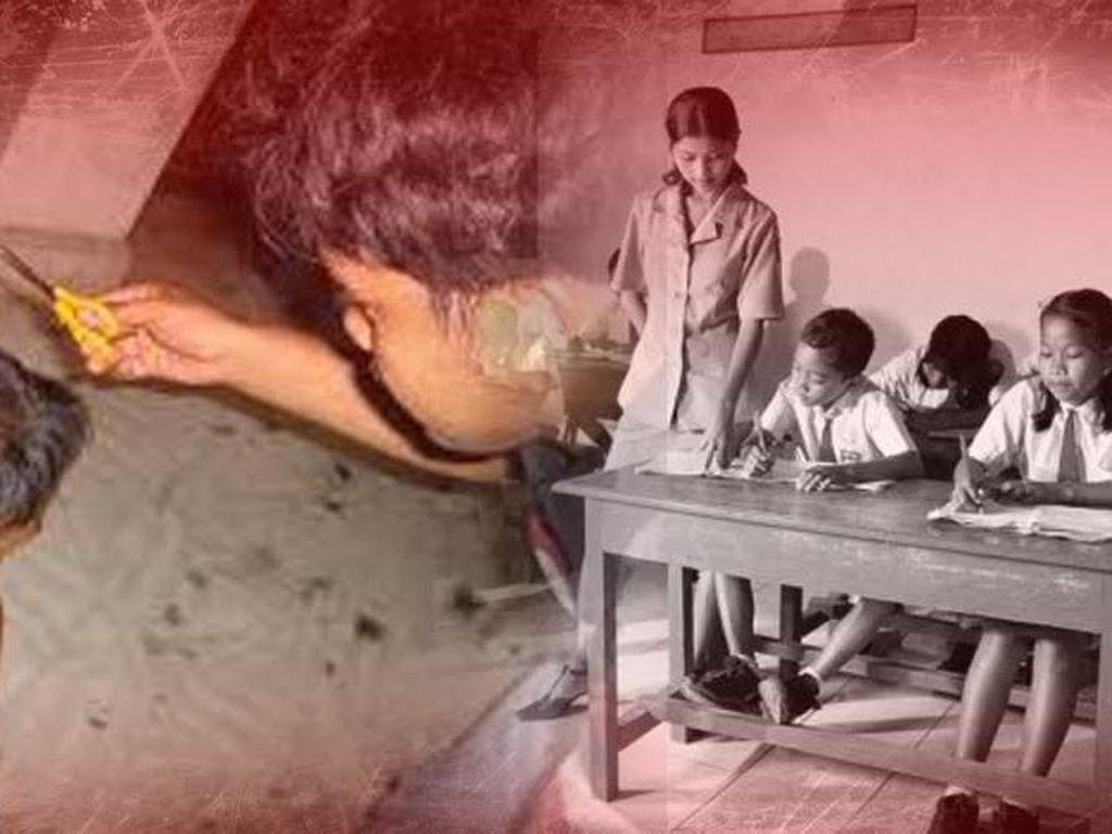 Dicukur Orangtua, Ibu Guru di Kalbar Potong Rambut Murid untuk Mendidik