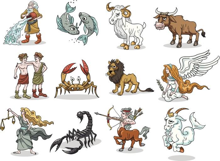Group 12 Funny cartoons of Zodiac symbols