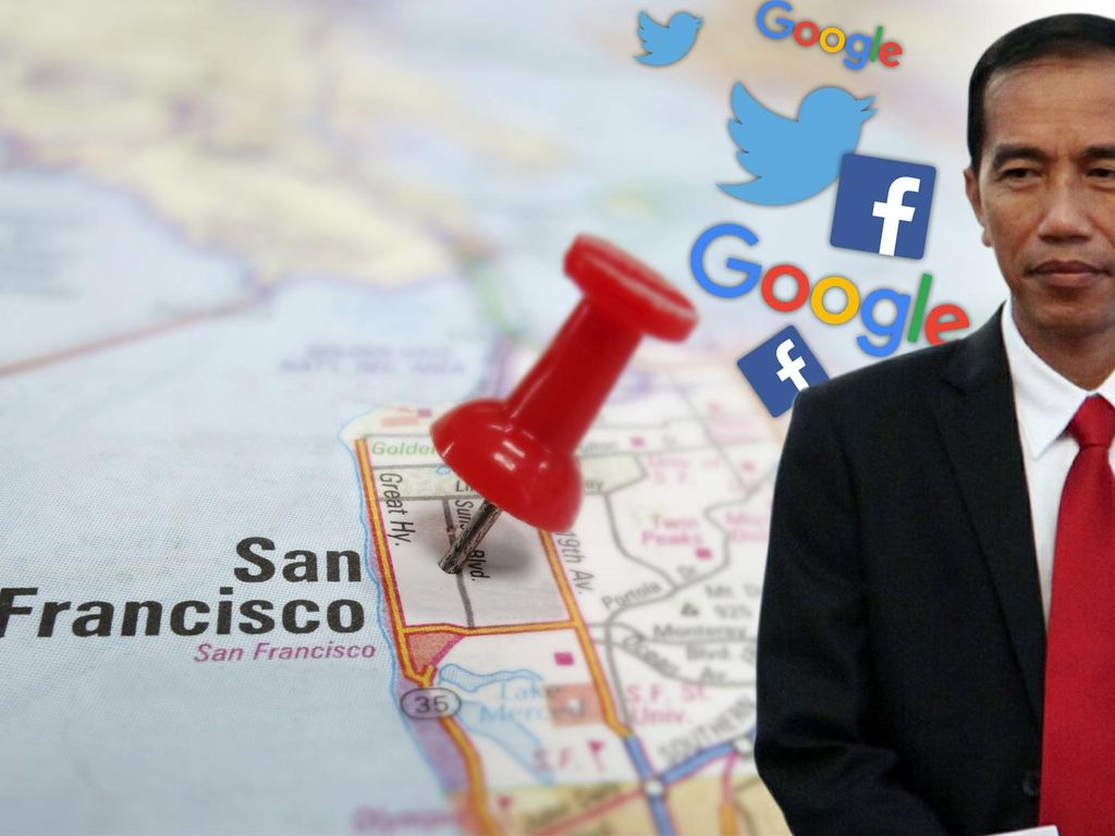 Jokowi Menuju Markas Facebook, Google, dan Twitter