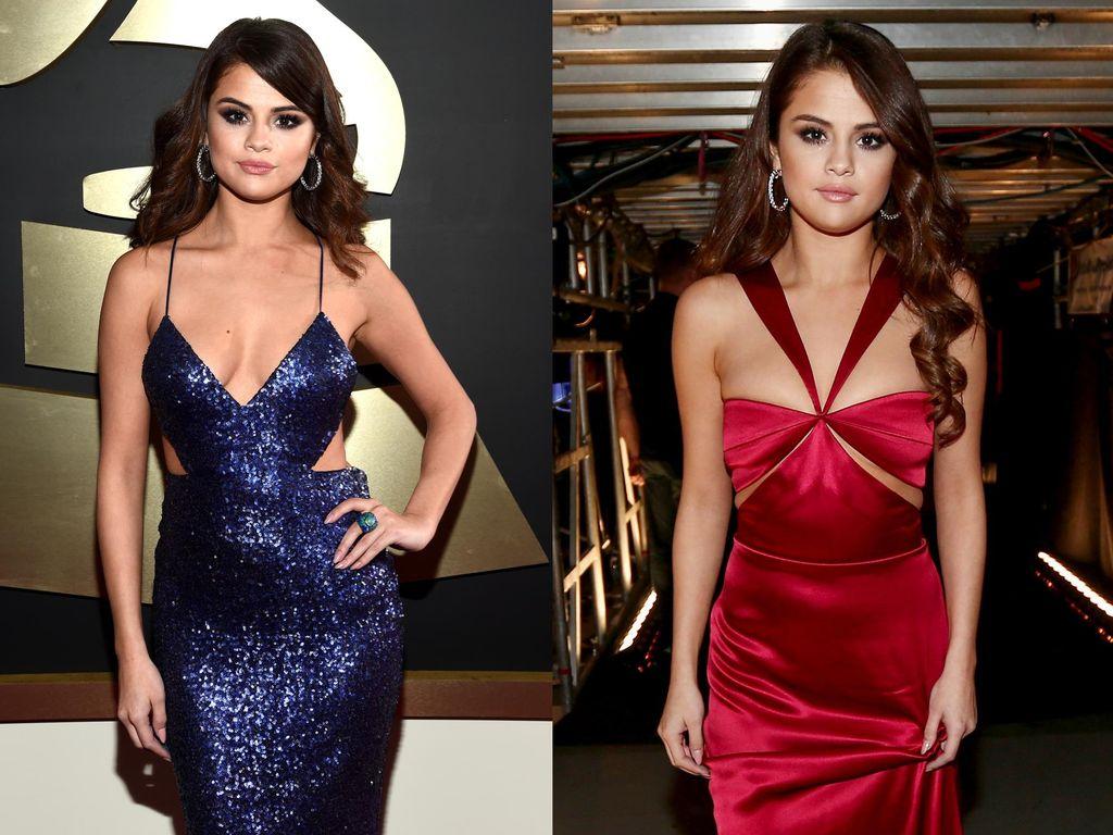 Selena Gomez Lebih Seksi dengan Dress Merah atau Biru di Grammy 2016?