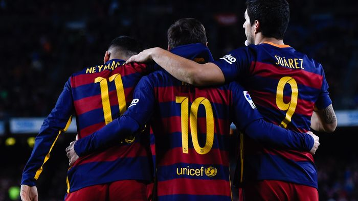 Trio MSN di Barcelona: Messi, Suarez, dan Neymar. (Foto: David Ramos/Getty Images)