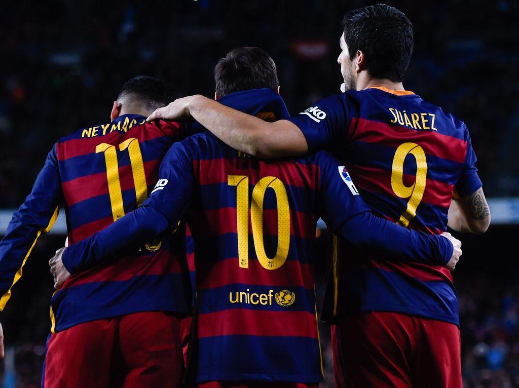 Trio MSN Bersatu, Neymar Pesta dengan Messi dan Suarez