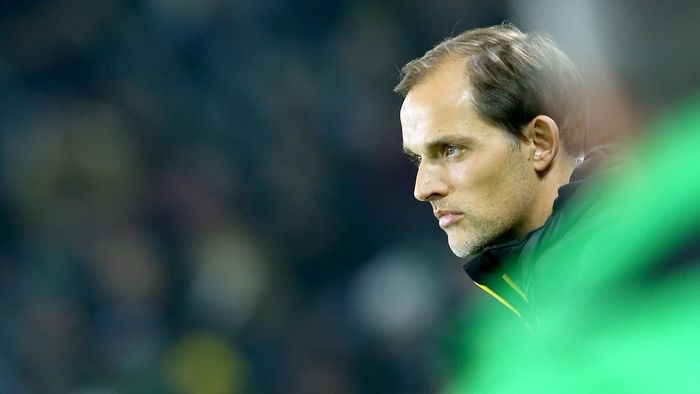 MOENCHENGLADBACH, GERMANY - JANUARY 23: Head coach Thomas Tuchel of Dortmund looks on during the Bundesliga match between Borussia Moenchengladbach and Borussia Dortmund at Borussia-Park on January 23, 2016 in Moenchengladbach, Germany.  (Photo by Christof Koepsel/Getty Images For MAN)