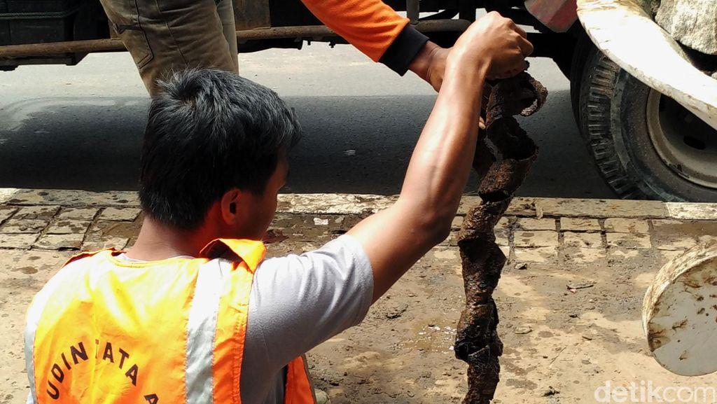 Bungkus Kabel di Gorong-gorong Patung Kuda Dibersihkan