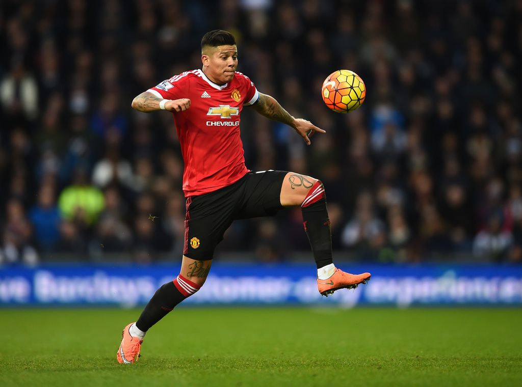 WEST BROMWICH, ENGLAND - MARCH 06: Marcos Rojo of Manchester United in action during the Barclays Premier League match between West Bromwich Albion and Manchester United at The Hawthorns on March 6, 2016 in West Bromwich, England.  (Photo by Laurence Griffiths/Getty Images)