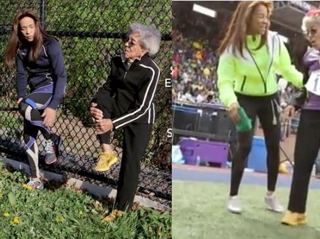Salut! Usia 100 dan 67 Tahun, Ibu dan Anak Ini Tetap Lakukan Hobi Berlari