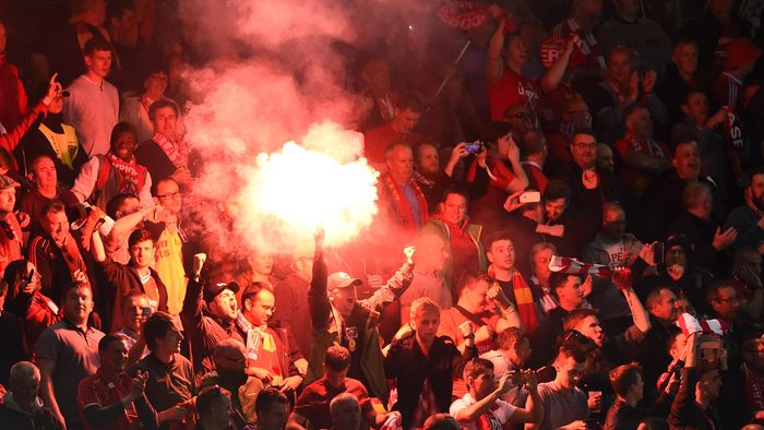 Football Soccer - Liverpool v Sevilla - UEFA Europa League Final - St. Jakob-Park, Basel, Switzerland - 18/5/16 Liverpool fans celebrate with a flare Reuters / Dylan Martinez Livepic EDITORIAL USE ONLY.