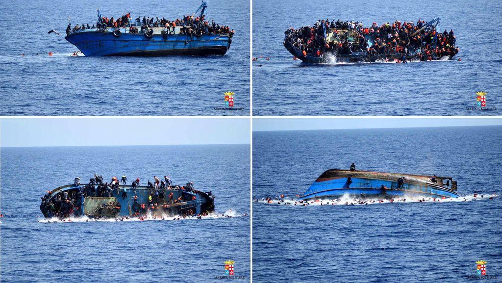 Detik-detik Terbaliknya Kapal Imigran di Laut Mediterania