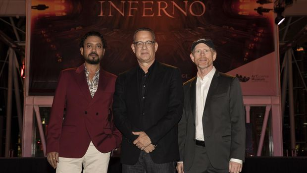 Director Ron Howard, actor Tom Hanks and Irrfan Khan attends the