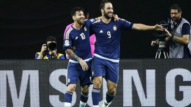 Jun 21, 2016; Houston, TX, USA; Argentina forward Gonzalo Higuain (9) celebrates with midfielder Lionel Messi (10) after scoring a goal during the second half against the United States in the semifinals of the 2016 Copa America Centenario soccer tournament at NRG Stadium. Argentina won 4-0. Mandatory Credit: Troy Taormina-USA TODAY Sports