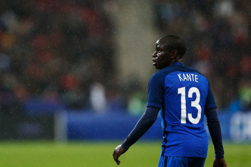 PARIS, FRANCE - MARCH 29:  N'Golo Kante of France in action during the International Friendly match between France and Russia held at Stade de France on March 29, 2016 in Paris, France.  (Photo by Dean Mouhtaropoulos/Getty Images)