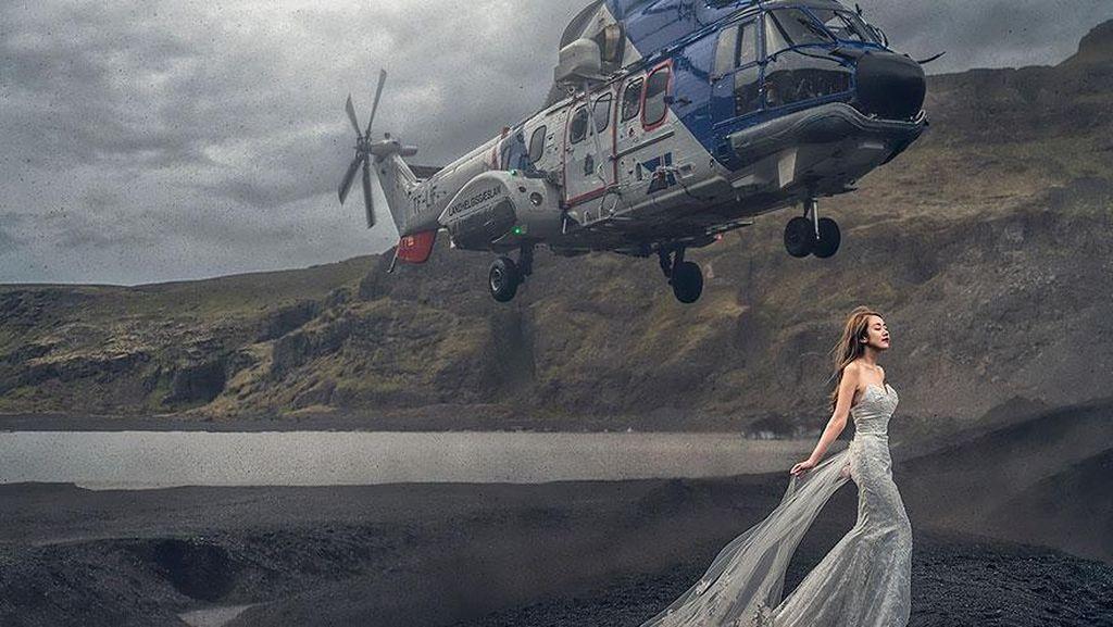 Foto Pre-Wedding Dramatis, Kepala Calon Pengantin Nyaris Kena Helikopter