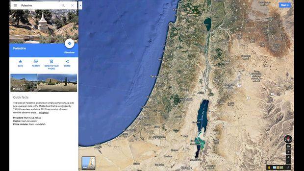 Basil pencarian dengan kata kunci Palestine di Google Maps