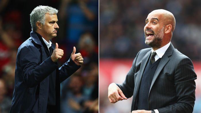 Jose Mourinho tak mendapat dukungan dari Manchester United, sementara Guardiola dapat support penuh dan Manchester City (Getty Images)