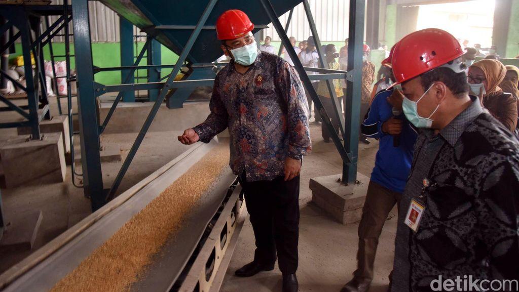 Mendes Kunjungi Pabrik Penggilingan Beras di Banyuasin