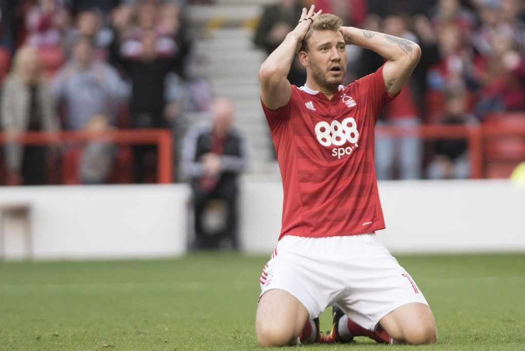 NOTTINGHAM, ENGLAND - SEPTEMBER 17:  Nicklas Bendtner of Nottingham Forest reacts on during the Sky Bet Championship match between Nottingham Forest and Norwich City on September 17, 2016 in Nottingham, England. (Photo by Nathan Stirk/Getty Images)