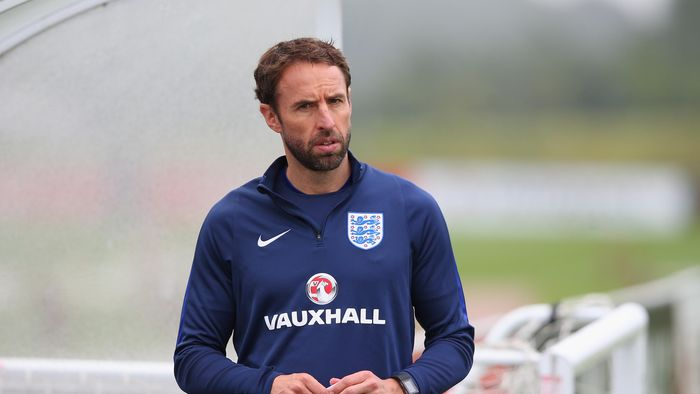 BURTON-UPON-TRENT, ENGLAND - SEPTEMBER 05:  Gareth Southgate the manager of England U21s looks on during a training session at St Georges Park on September 5, 2016 in Burton-upon-Trent, England.  (Photo by Alex Livesey/Getty Images)