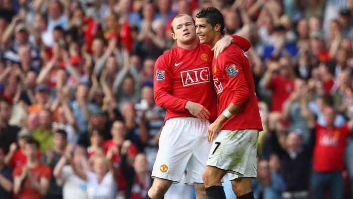 MANCHESTER, UNITED KINGDOM - SEPTEMBER 27:  Wayne Rooney of Manchester United celebrates scoring his teams second goal with team mate Cristiano Ronaldo (R) during the Barclays Premier League match between Manchester United and Bolton Wanderers at Old Trafford on September 27, 2008 in Manchester, England.  (Photo by Clive Brunskill/Getty Images)