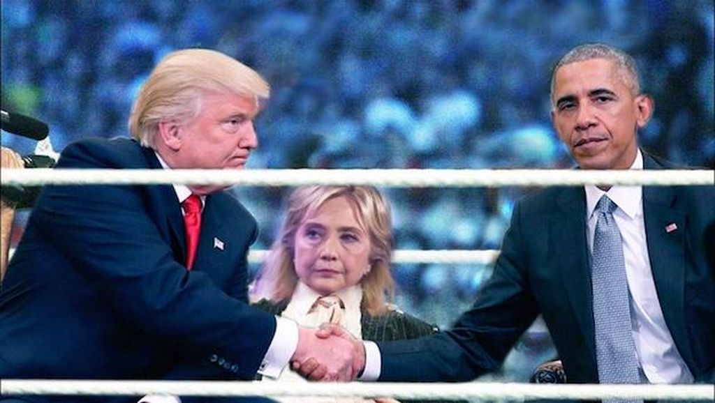 Pertemuan Canggung Trump & Obama Jadi Lelucon Photoshop