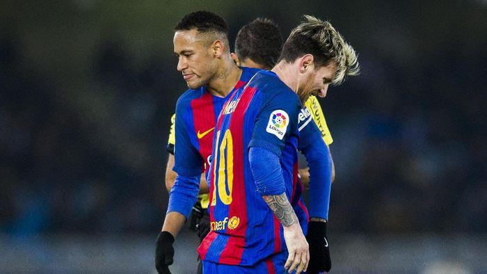 Neymar dan Lionel Messi sewaktu masih bersama di Barcelona. (Foto: Juan Manuel Serrano Arce/Getty Images)