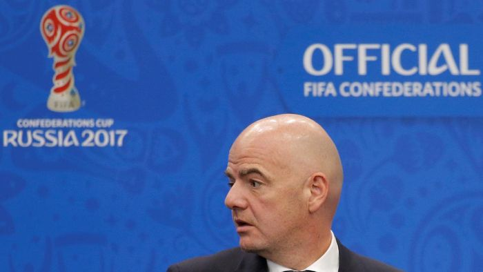 FIFA President Gianni Infantino attends a news conference prior to the Confederations Cup 2017 official draw in Kazan, Russia, November 26, 2016. REUTERS/Maxim Shemetov