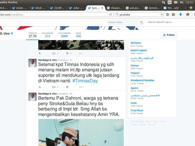 Sempat Salah Cuit, Sandiaga Uno Ucapkan Selamat ke Timnas Indonesia
