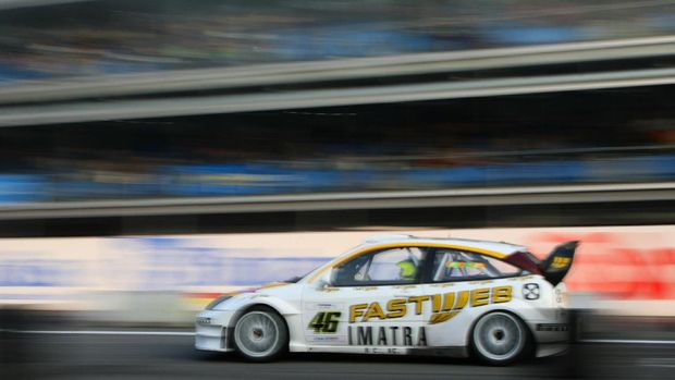 Italian Moto GP World Champion Valentino Rossi drives his Ford Focus WRC during  the