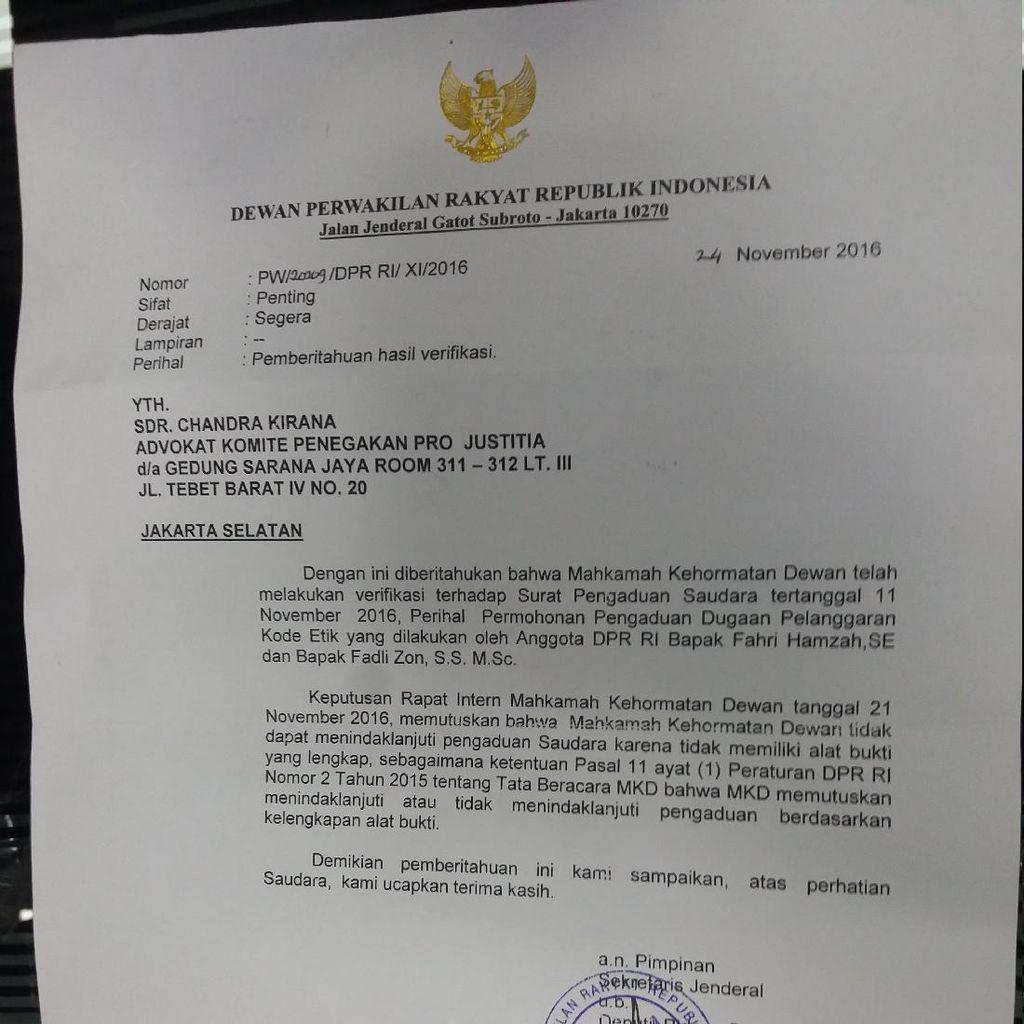 MKD Tak Menindaklanjuti 1 Laporan atas Fahri dan Fadli Zon Terkait Demo 411