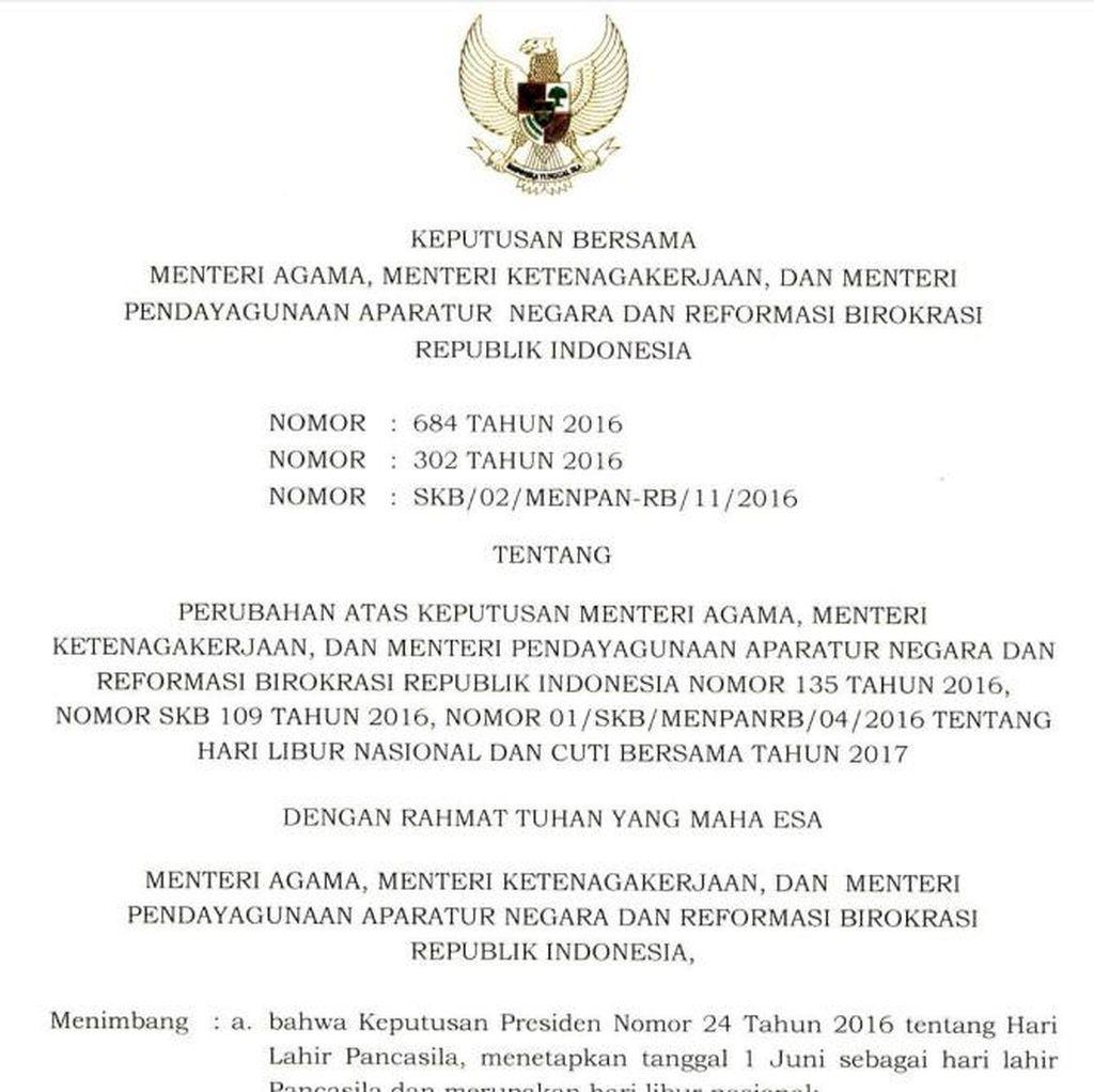 Libur Nasional dan Cuti Bersama 2017 Tambah 3 Hari, Ini Daftar Lengkapnya