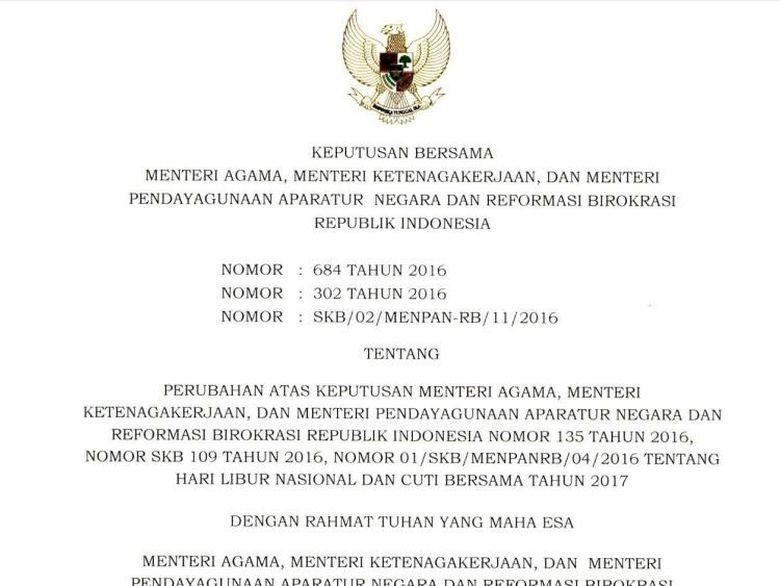 Libur Nasional dan Cuti Bersama 2017 Tambah 3 Hari, Ini ...