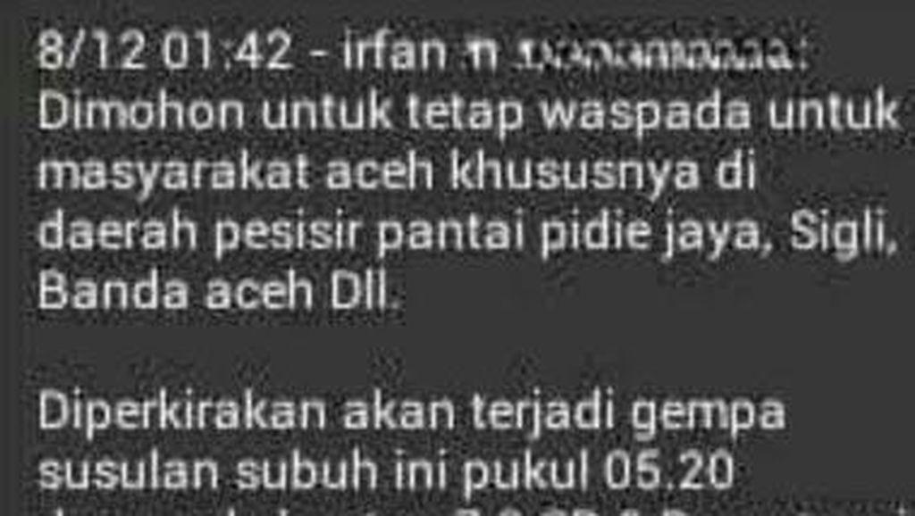 Beredar Info Gempa Susulan 7,9 SR di Pidie Aceh, BMKG: Itu Hoax