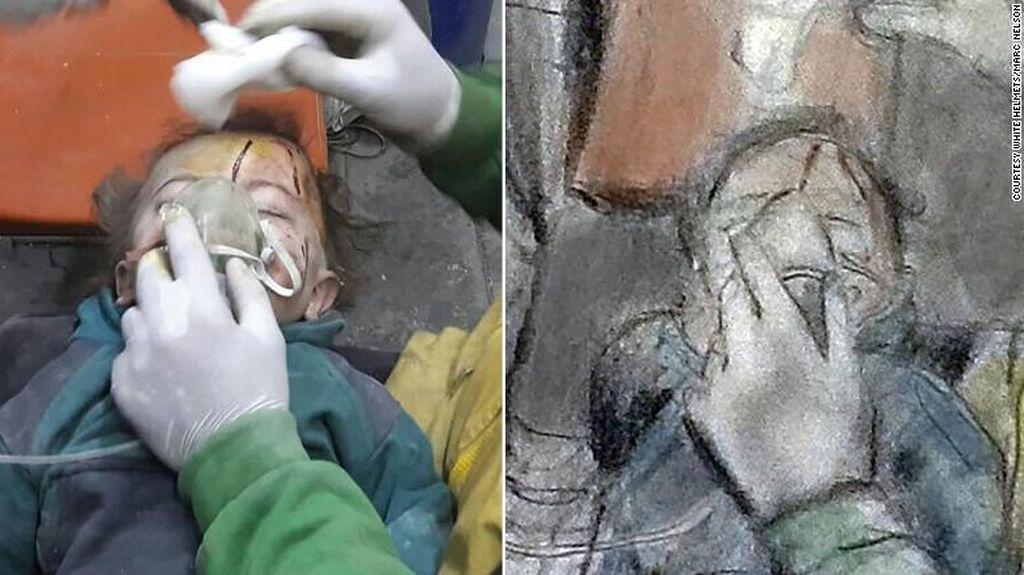 Simpati untuk Suriah, Guru Seni di Amerika Viralkan Sketsa Perang Sipil