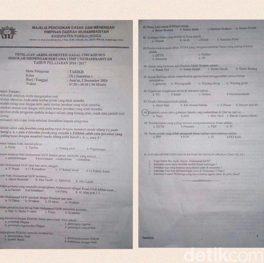 Nama Ahok Jadi Soal Ujian, Disdik: Itu Mata Pelajaran Khusus Muhammadiyah