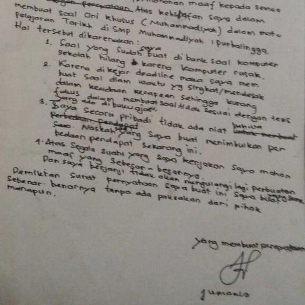 Singgung Nama Ahok di Soal Ujian, Ini Surat Permohonan Maaf Guru Jumanto