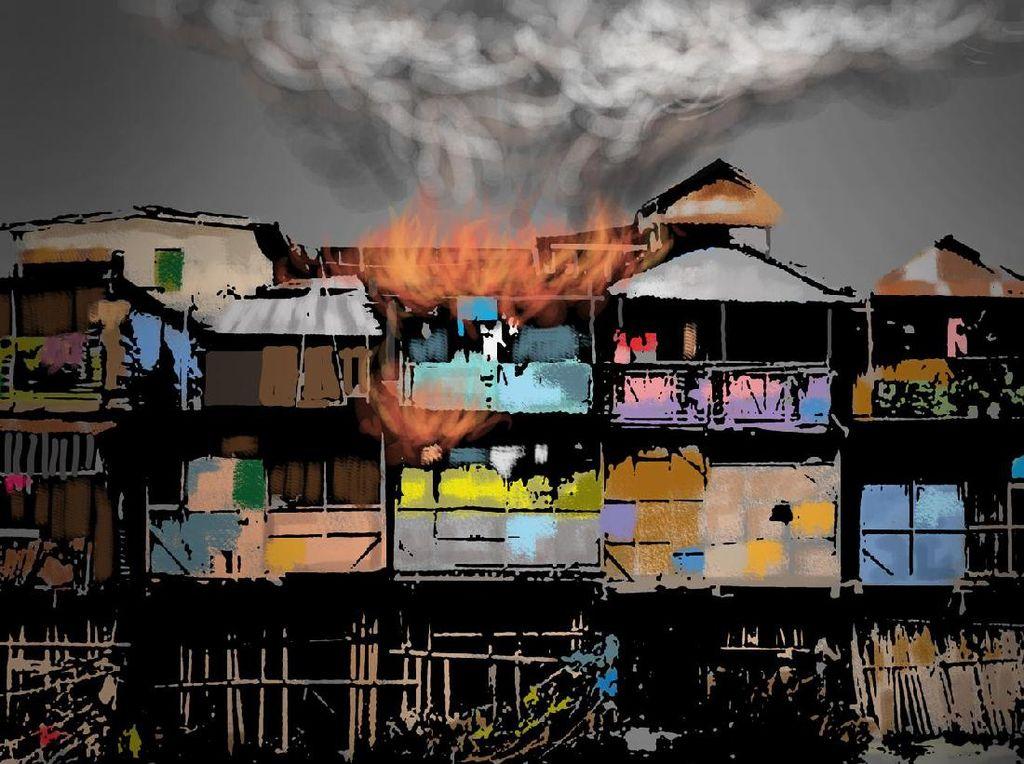 2 Rumah Terbakar di Palmerah, 14 Unit Mobil Damkar Dikerahkan